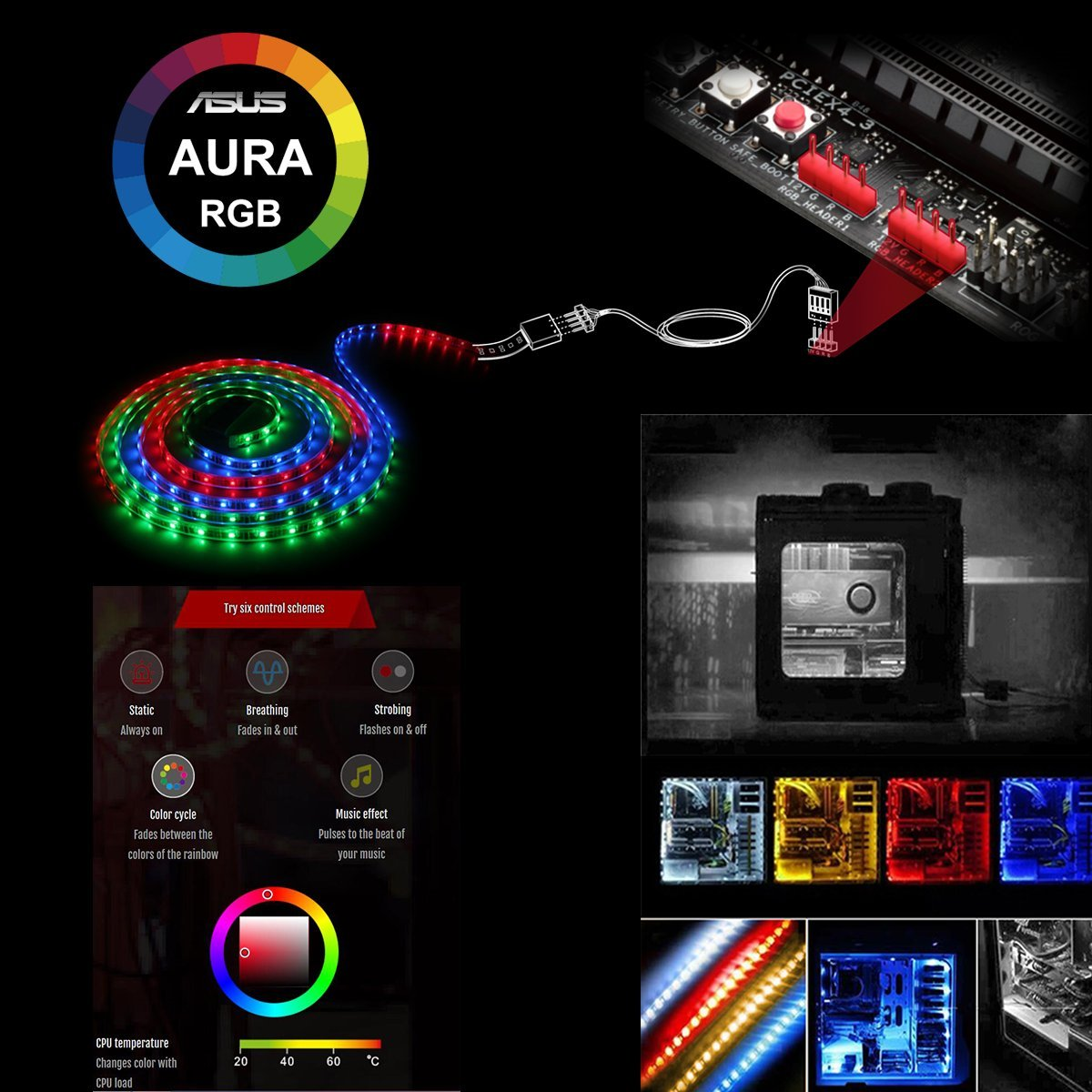 Extended Computer LED Strip Kit - 3M Tape Make It Easy to