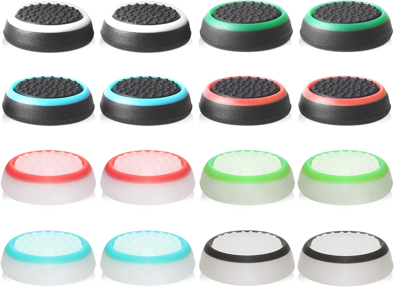 ABD Cubierta Protectora de Apretones de Pulgar de Silicona para PS4, Xbox 360, PS3 Controladores, 8 Pares, Colores Mezclados