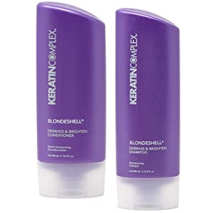 Keratin Complex Blondeshell Debrass and Brighten Purple Shampoo and Conditioner for Blonde Hair, 13.5 Fl. Oz. Value Pack!