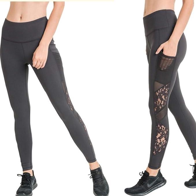 Amazon.com: Mono B - Pantalones de yoga de encaje negro con ...