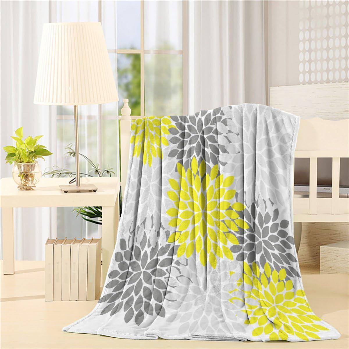 SUN-Shine Flannel Fleece Luxury Blanket Home Multicolor Dahlia Pinnata Flower Throw Lightweight Cozy Plush Microfiber Colorful Blanket 40x50Inches Black, Yellow, Grey