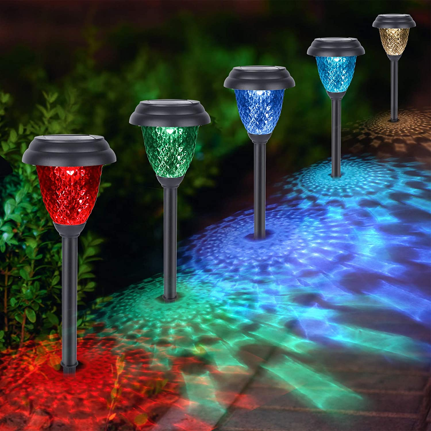 Solar Pathway Lights Outdoor, GEEKERA 8Pack Waterproof Solar Powered Garden Landscape Path Lights, Warm White/LED Color Changing Lighting Lawn Lamps Decor for Path, Yard, Walkway, Driveway Auto On/Off