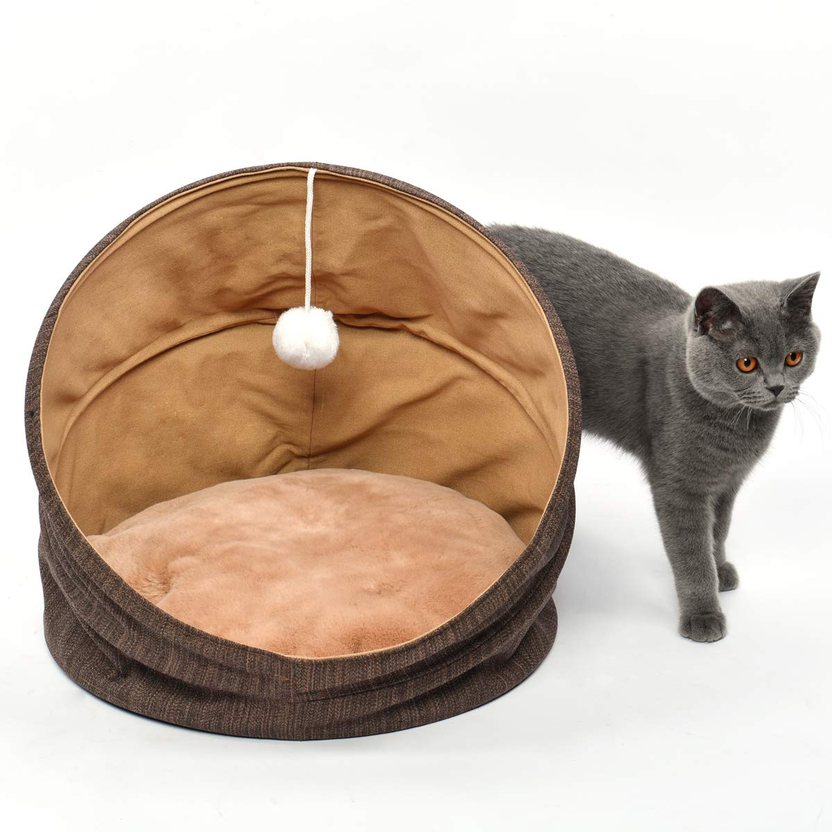 Cuddle Cave Pet Bed Tent for Cats or Small Dogs, Washable Foldable Kitten House with Luxury Shag Faux Fur Mattress & Toy Ball - Brown (18inch) by SUOCO (Image #5)
