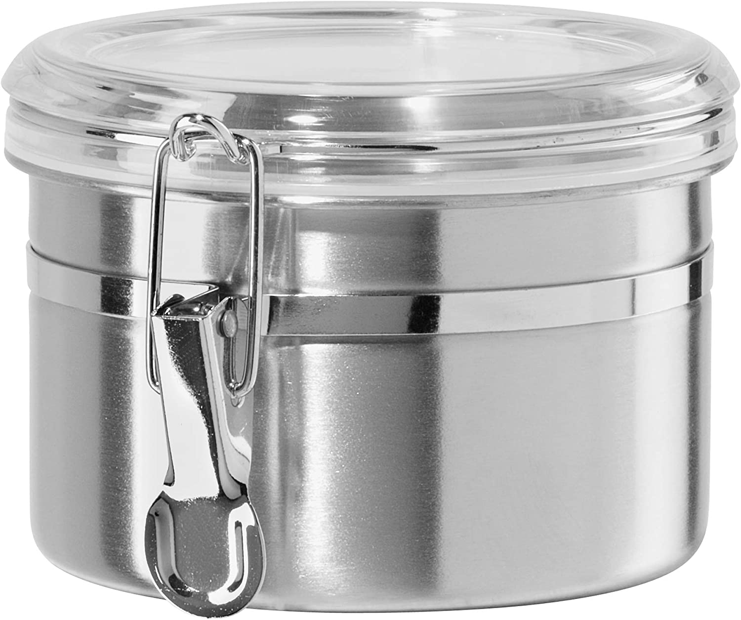 Oggi 26-Ounce Stainless Steel Canister with Clear Arylic Lid and Locking Clamp