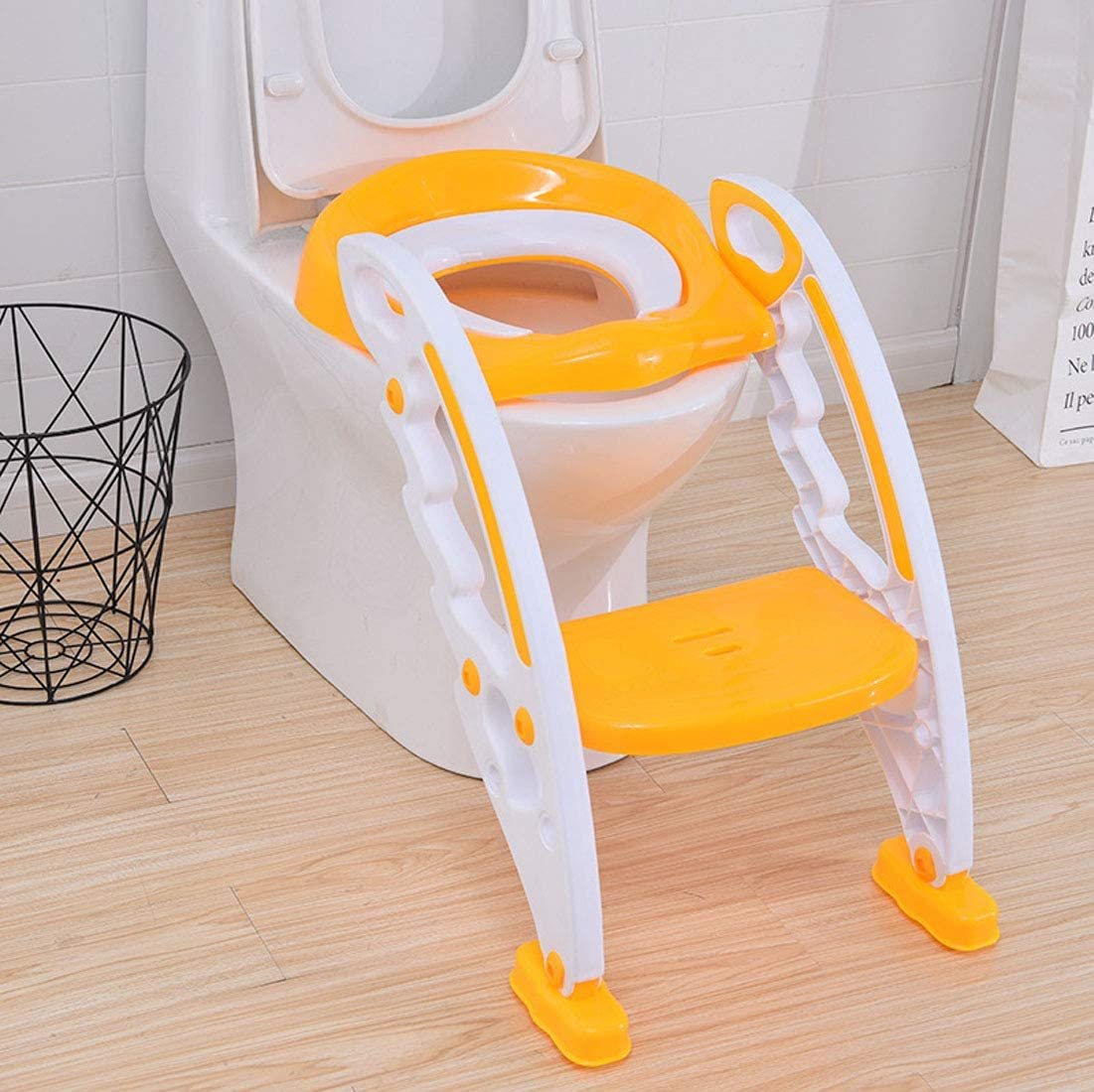 KUANDARYJ Aseo Escalera Asiento Escalera del tocador de niños Asiento para WC con escalón Plegable Orinal Formación Color Azul, Orange: Amazon.es: Deportes y aire libre