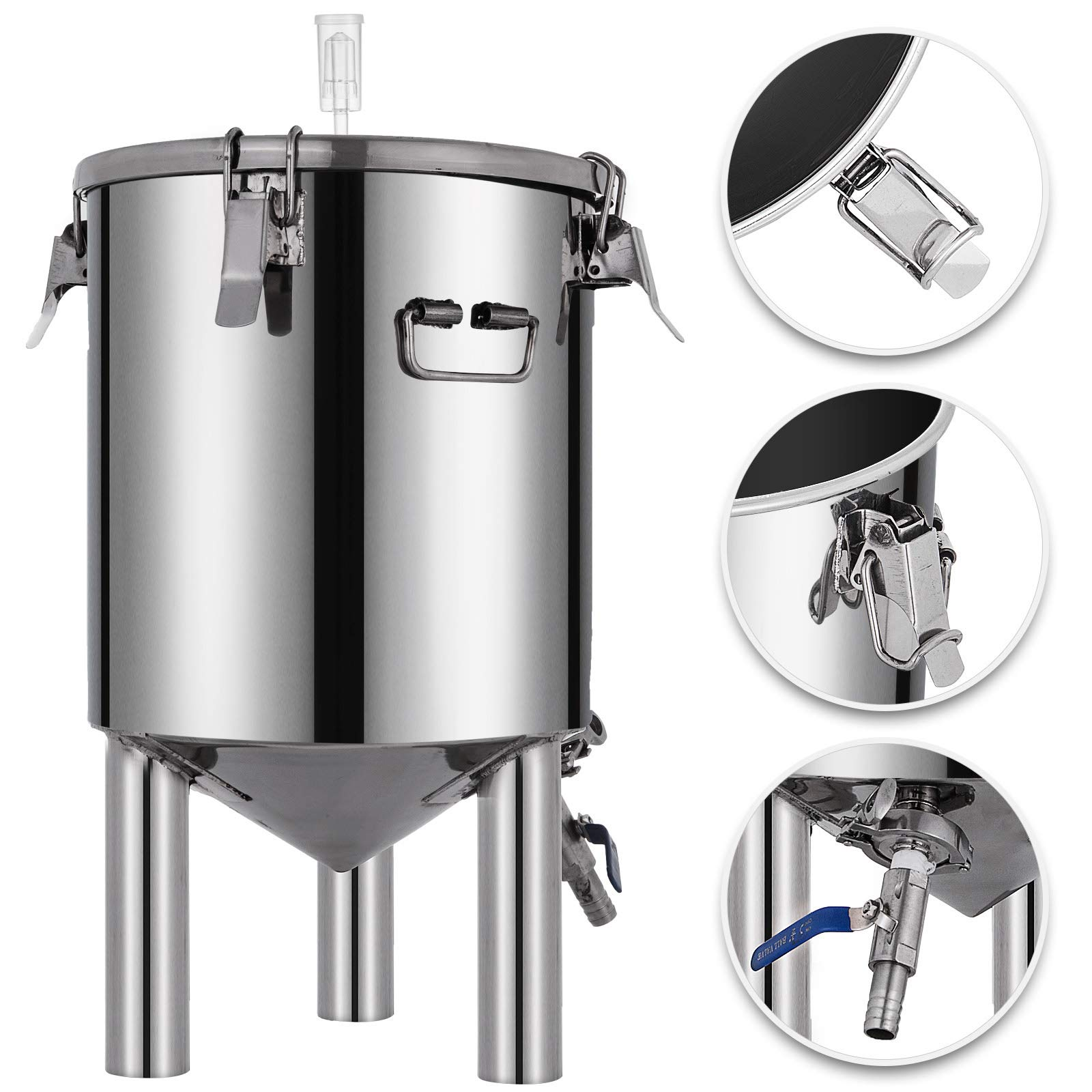 VEVOR 7 Gallon Stainless Steel Brew Fermenter Home Brewing Brew Bucket Fermenter With conical base Brewing Equipment