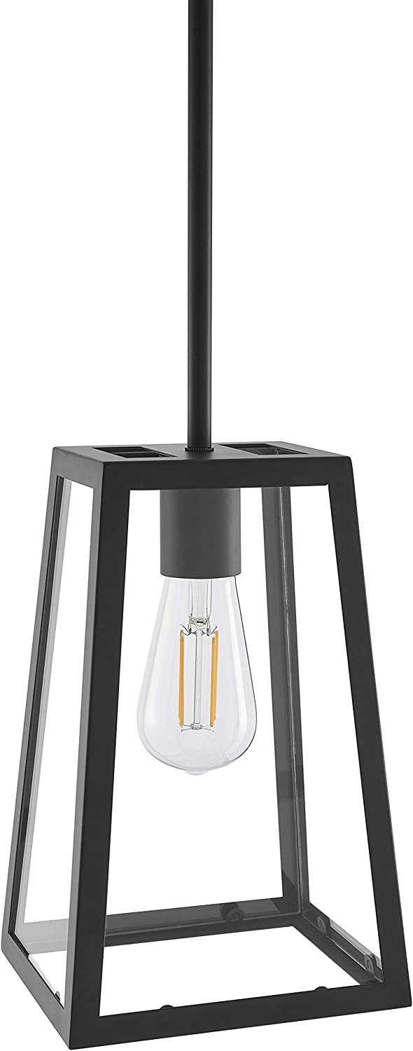 Ferramo Industrial Pendant Light Black Vintage Modern Hanging Light with LED Bulb LL-P731-5BLK