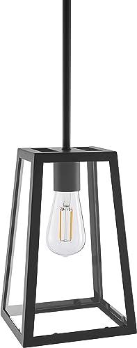 Ferramo Industrial Pendant Light Black Vintage Modern Hanging Light with LED Bulb LL-P731-5BLK