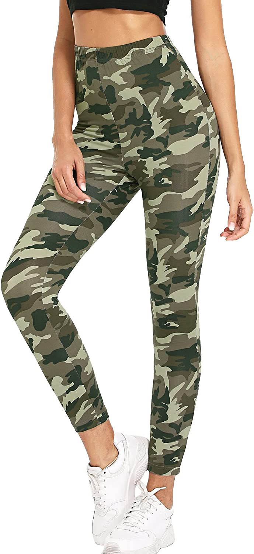 SweatyRocks Womens Stretchy Print Workout Leggings High Waist Yoga Pants