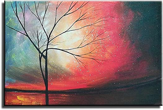 Gincleey Oil Paintings On Canvas 24x36 Inch Hand Painted Red Wall Art Tree Of Life Paintings Sky Landscape Picture Abstract Sunset Artwork Framed Red