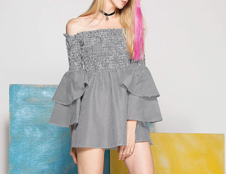 Fashion Off-Shoulder Dress with Long Ruffles Design Striped Knee-Length Casual Women Dresses Autumn Winter