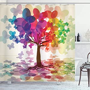 "Ambesonne Abstract Shower Curtain, Colorful Blooming Spring Season Tree with Butterflies Pastoral Nature Illustration, Cloth Fabric Bathroom Decor Set with Hooks, 75"" Long, Red Purple"