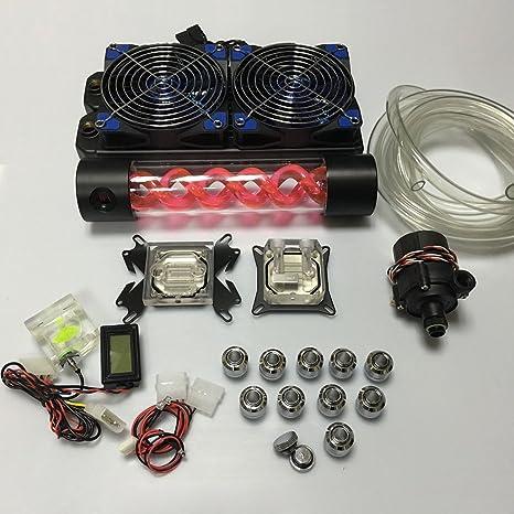 bykski DIY Kit de refrigeración de agua 240 mm rardiator CPU GPU Bloque T Virus cilíndrico tanque azul ventilador para PC sistema de refrigeración líquida: Amazon.es ...