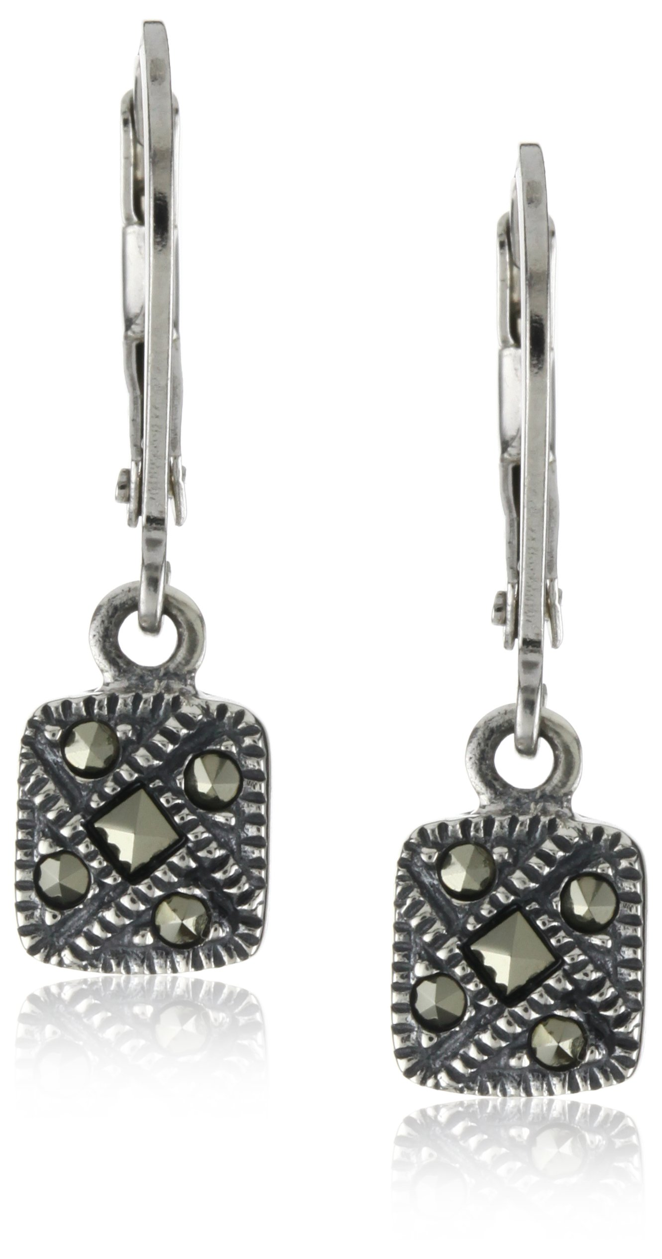 Judith Jack Sterling Silver Marcasite Square Drop Earrings