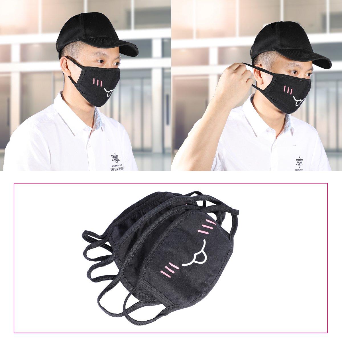 Mouth Masks,MagicFour 5Pack Kawaii Muffle Mask,Black Anti Dust Cute Kaomoji Face Mask Cotton Masks for Boys Girls by MagicFour (Image #6)