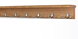 """product image for PegandRail Solid Cherry Shelf Coat Rack with Satin Nickel Double Style Hooks (Cherry, 31"""" with 6 Hooks)"""