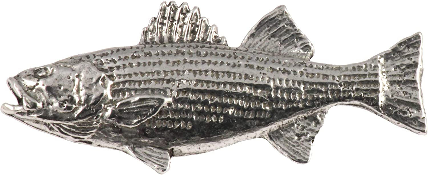 Striped Bass Fish Pewter S050 Lapel Pin Brooch Jewelry