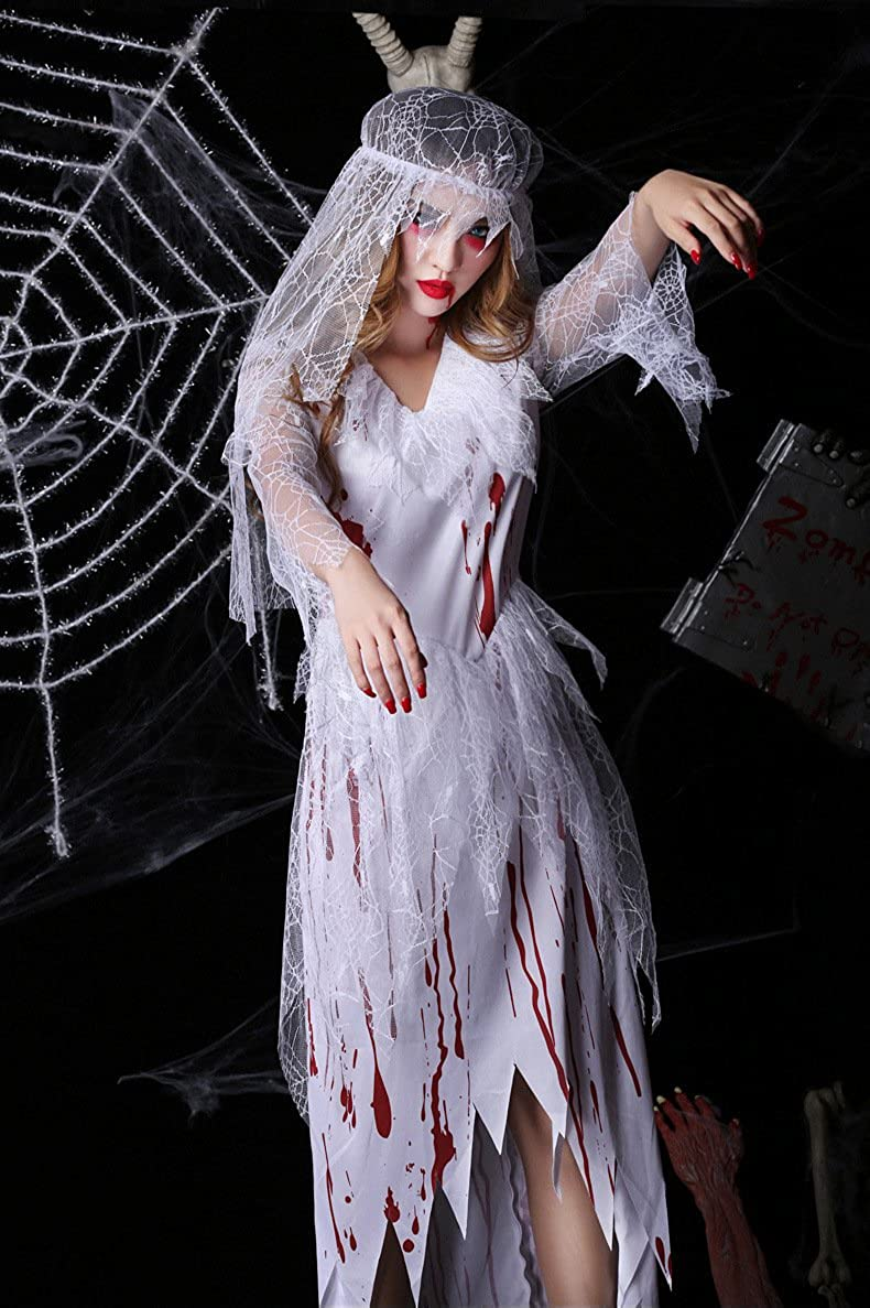 50caeee0822 Amazon.com: Sexy Ghost Costume - Halloween Horrible Bloody Nurse ...