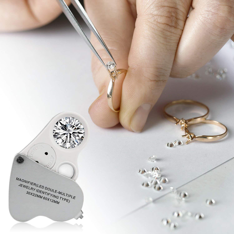 Numismatica Diamanti Francobolli CaaWoo Lente dIngrandimento 30x//60x-Lente Ingrandimento con 2 LED Luce Ideale per Gioiellieri Design Pieghevole Alta Chiarezza