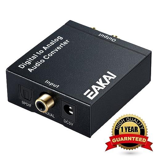 EAKAI Audio Convertidor de Digital (Toslink y coaxial) a analógico, digital a analógico Audio corriente incorporados con 3.5 mm Jack, 96 kHz 24 bits DAC ...