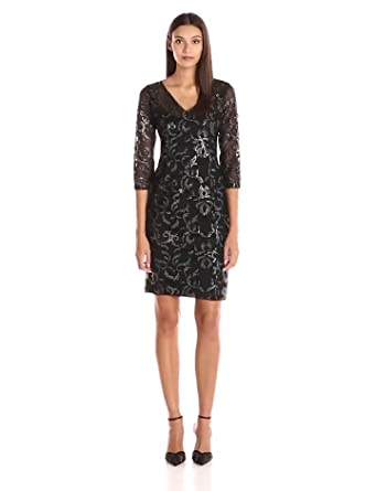 3d68a1de18 Amazon.com  Adrianna Papell Women s V Neck Sequin Sheath Dress with ...