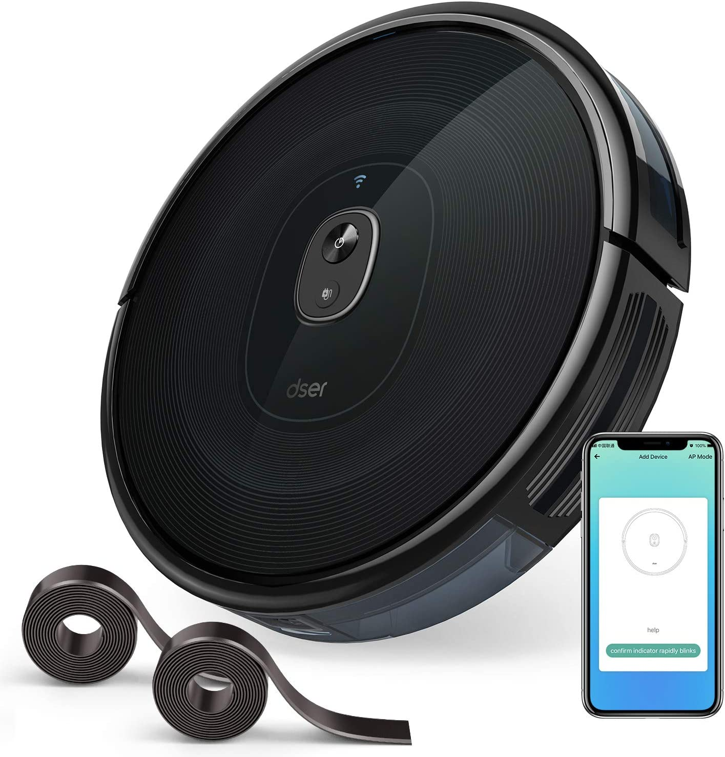 dser RoboGeek 21T, WiFi Robot Vacuum Cleaner with App and Remote Control, 1600Pa Max Suction, Quiet, Ultra-Slim Self-Charging Robotic Vacuums for House Floor and Pet Hair Cleaning, Alexa Voice Control