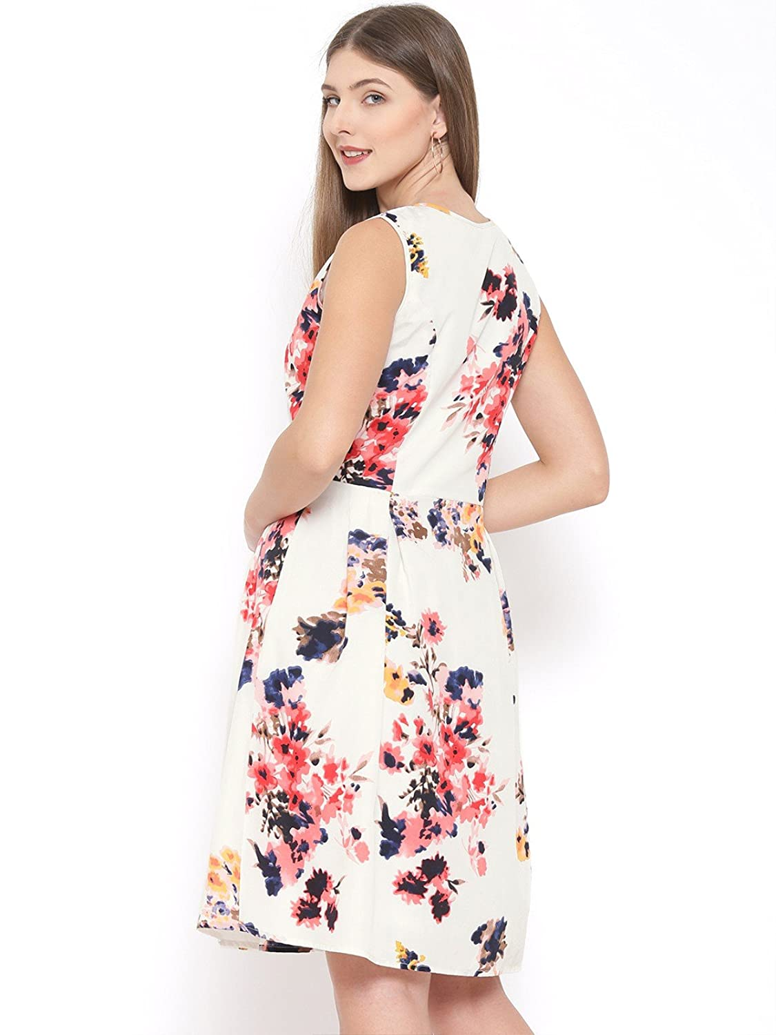 Rare Women Off White Floral Print Fit Flare Dress Ep1392 At Best