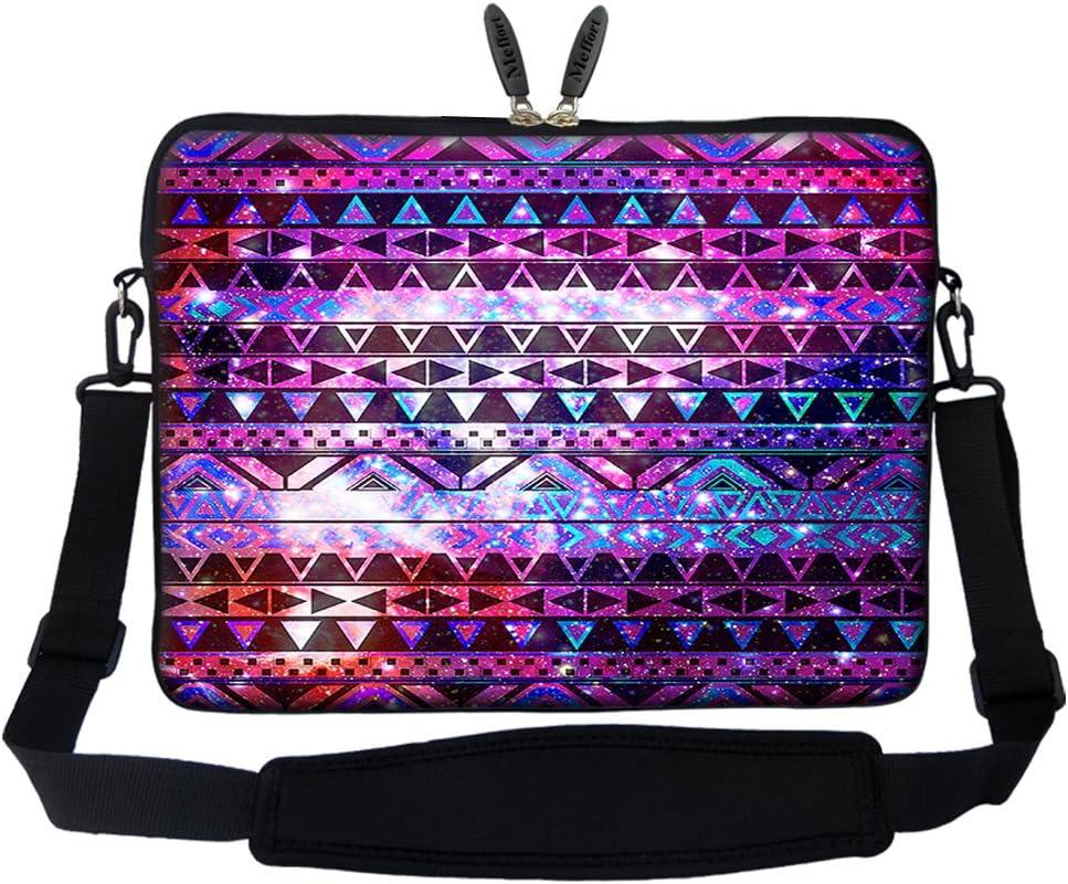 Meffort Inc 15 15.6 inch Neoprene Laptop Sleeve Bag Carrying Case with Hidden Handle and Adjustable Shoulder Strap - Shiny Pattern