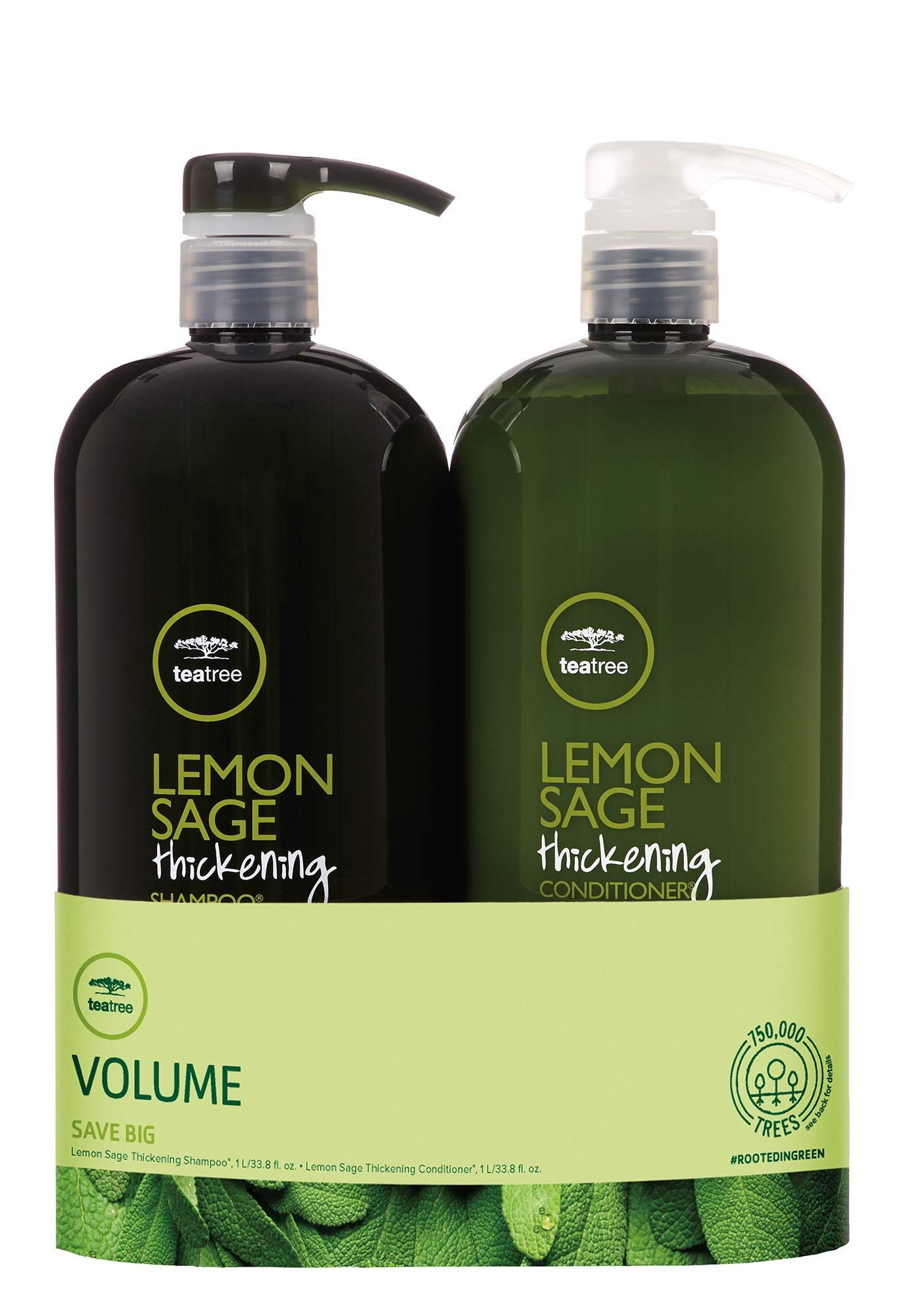 Volume Lemon Sage Thickening Liter Duo Set by Tea Tree