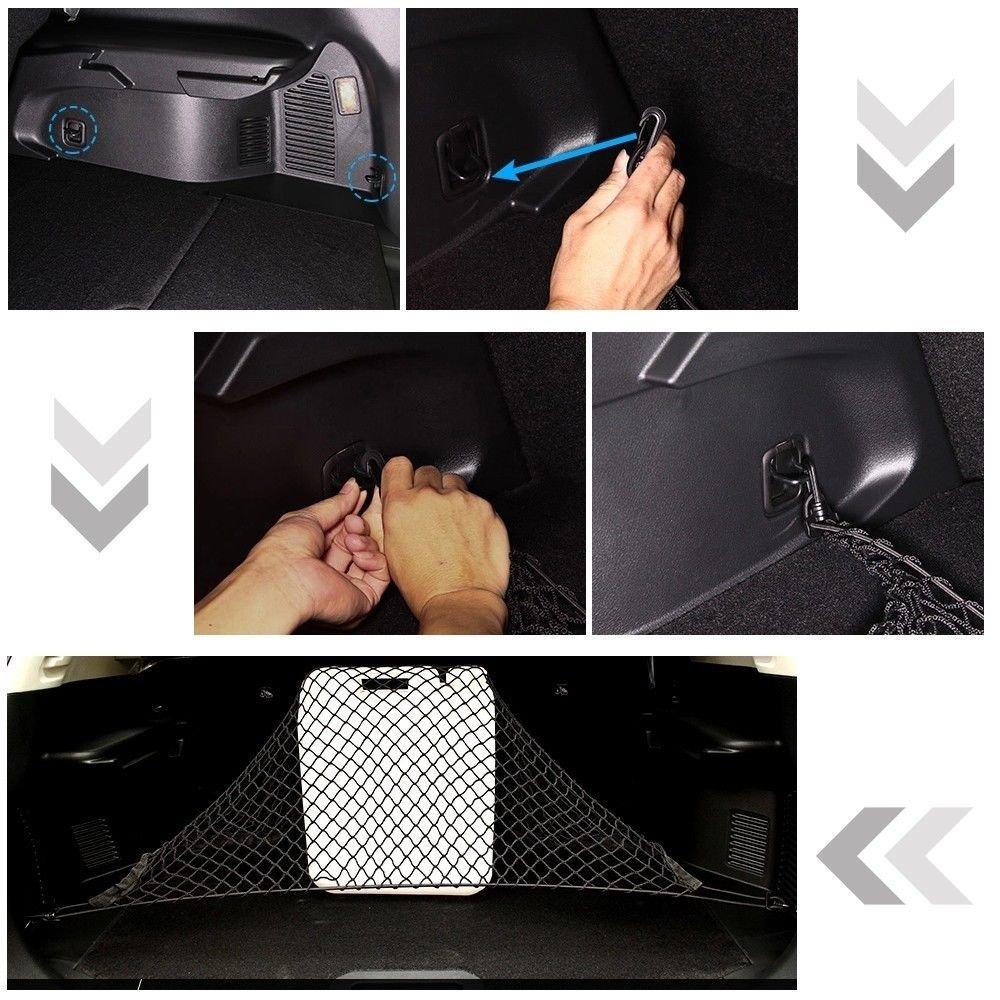 Universal car Trunk cargo organizer portaoggetti posteriore elastico maglia netto del tronco con 4/ganci Storage net cargo Carrier pickup Truck Bed