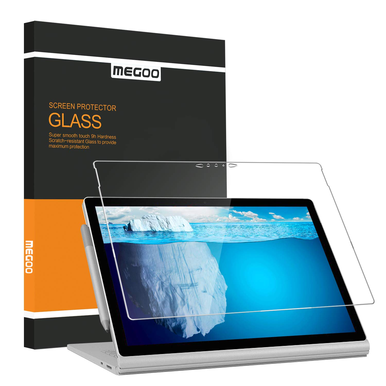 MEGOO Screen Protector For Surface Book 2 15 Inch, [Bubble Free] [HD  Tempered Glass] [Anti-Scratch] Microsoft Surface Book Screen Protector