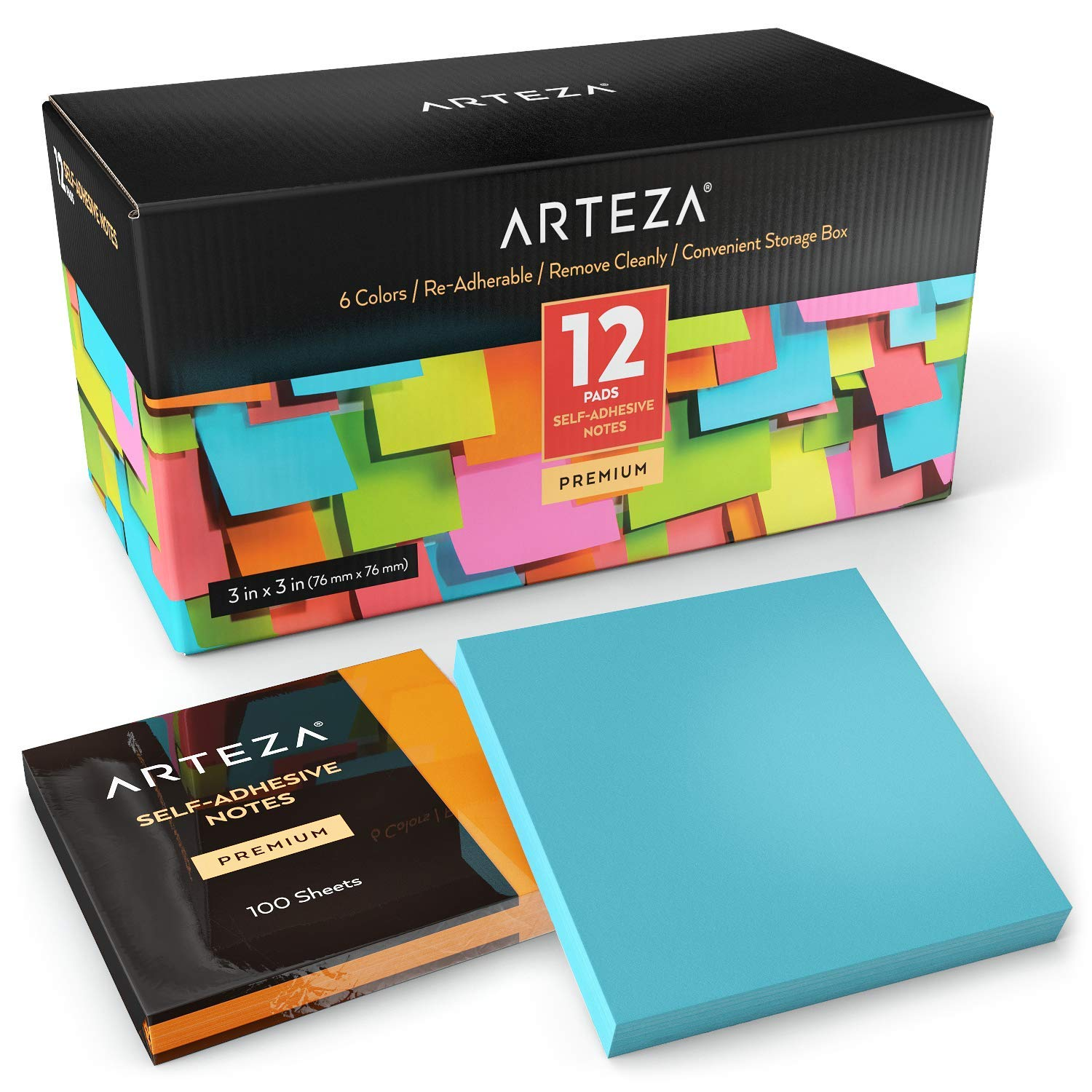 ARTEZA 3x3 Inches Sticky Notes, 12 Pads, 100 Sheets Per Pad, Bulk Pack, Assorted Colors, Re-Adhesive, Clean Removal, for Reminders, Studying, Office, School, and Home