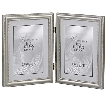 lawrence frames hinged double vertical metal picture frame pewter finish with delicate beading