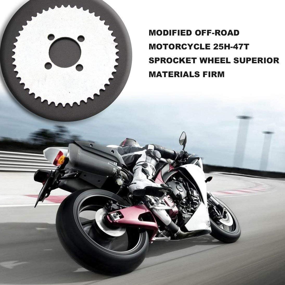 Modifiziertes Offroad-Motorrad 25H-47T Kettenrad aus /überlegenen Materialien Fest und stabil Silber