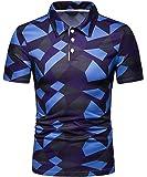 WHATLEES メンズ 半袖 柄 ポロシャツ ビジネス ゴルフ スポーツ 吸汗速乾