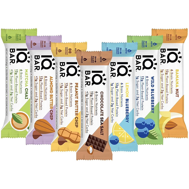 IQBAR Brain and Body Keto Protein Bars - 7 Sampler Keto Bars - Energy Bars - Low Carb Protein Bars - High Fiber Vegan Bars and Low Sugar Meal Replacement Bars - Vegan Snacks