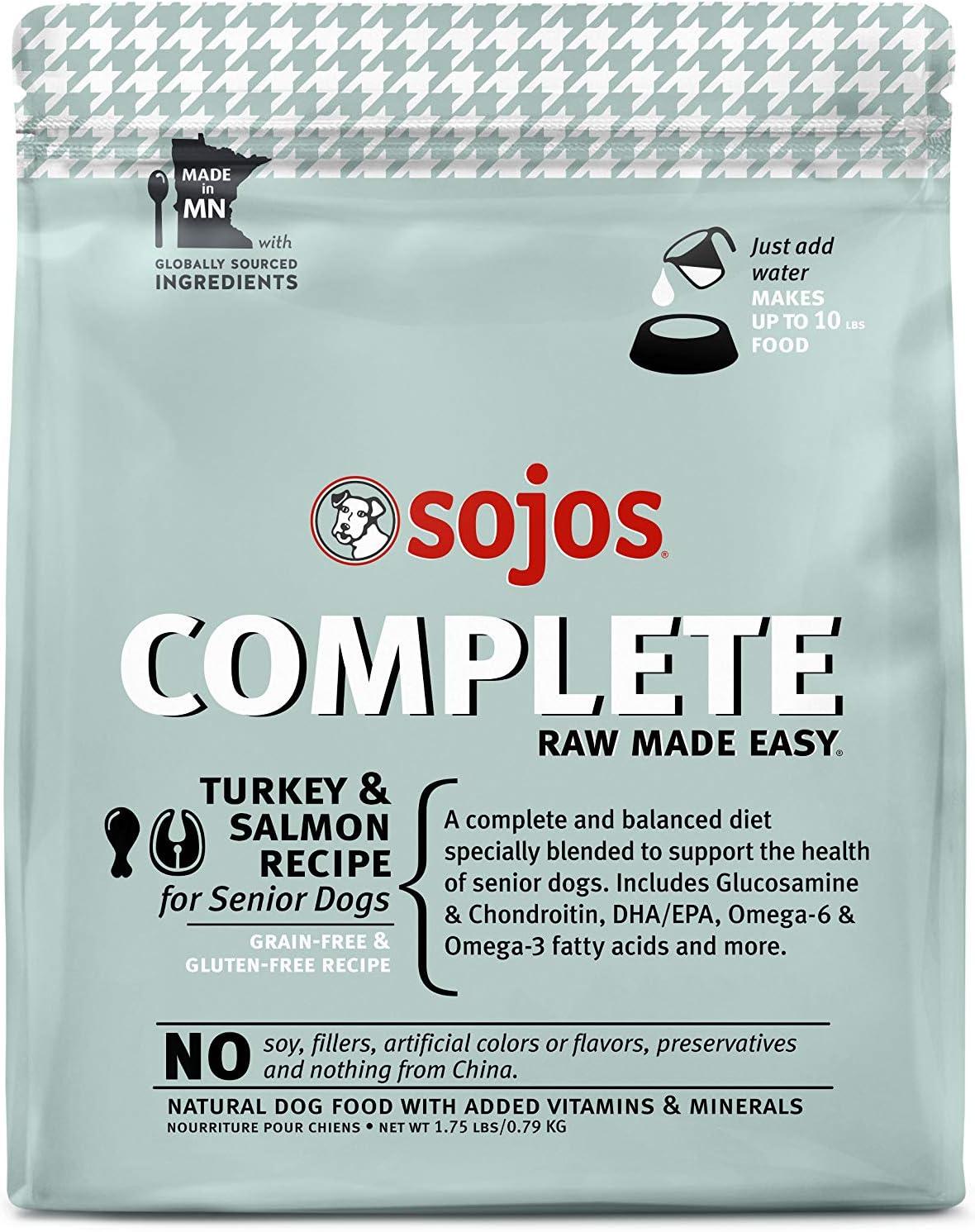 Sojos Complete Turkey & Salmon Recipe Senior Grain-Free Freeze-Dried Raw Dog Food, 1.75 Pound Bag