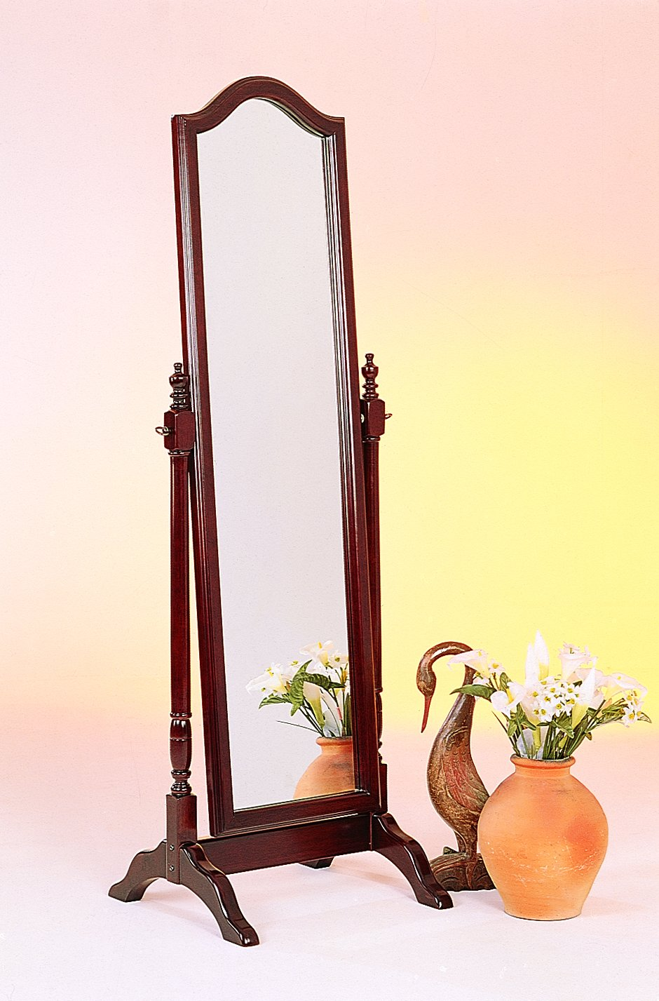 Cheval Mirror with Arched Top Merlot