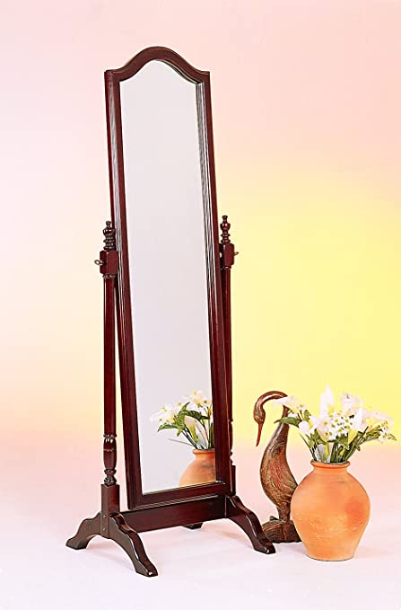 Amazon.com: Coaster Traditional Red Brown Floor Mirror with Arched ...