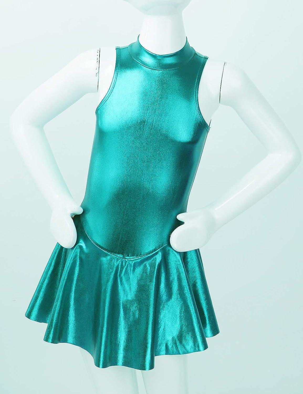 easyforever Kids Girls Glossy Metallic Modern Dance Ice Figure Skating Leotard Dress Mock Neck Zippered Leotard