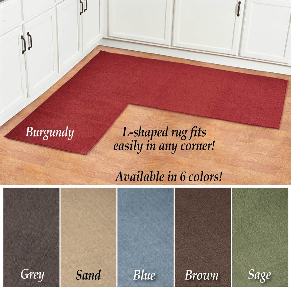 Amazon.com: L Shaped Berber Corner Skid Resistant Floor Hallway Kitchen  Runner Rug, Sage: Kitchen U0026 Dining