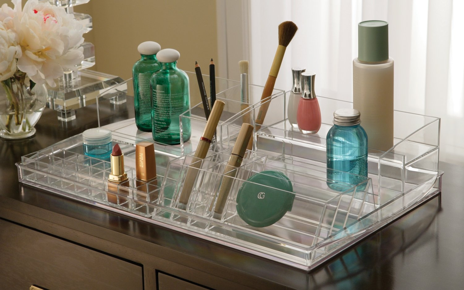 Bathroom makeup organizers - Amazon Com 5 Piece Cosmetic Organizer Clear 4 H X 20 9 W X