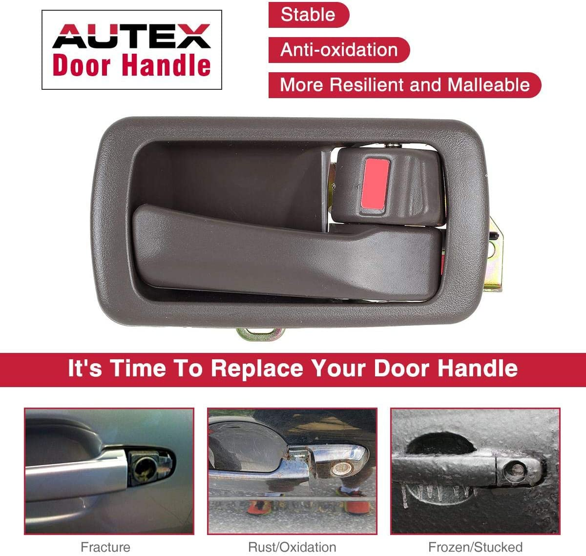 AUTEX Door Handles 4pcs Interior Front Rear Left Driver Right Passenger Side Compatible with Toyota Camry 1992 1993 1994 1995 1996 Door Handle 80486 80493