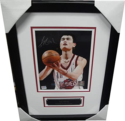 e3bef06762665 Yao Ming Signed Autographed 8X10 Photo Rockets Shooting Framed PSA ...