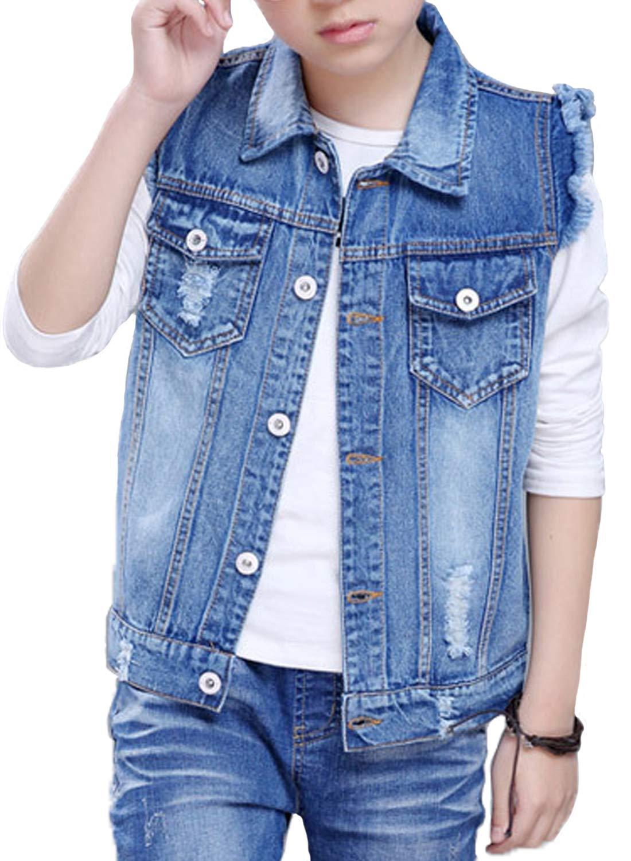 Stylish Kids' Sleeveless Denim Vest Cute Kids' Gilet for 4T-10 Blue