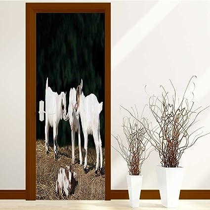 Lihousehold 3D Door Wallpaper Creative Stickers Bedroom Doors Renovation Waterproof Arts Decals Wall