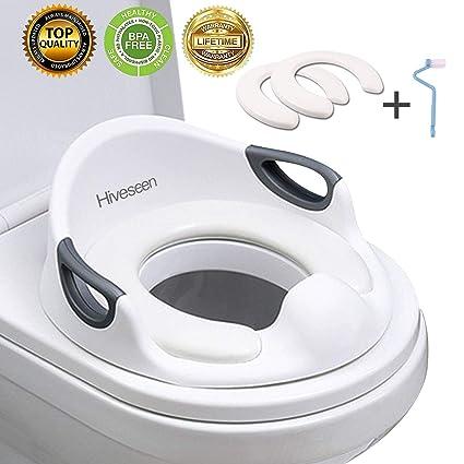 Hiveseen Asiento Inodoro para Niños, Reductor de WC para Bebé, Tapa WC con reposabrazos
