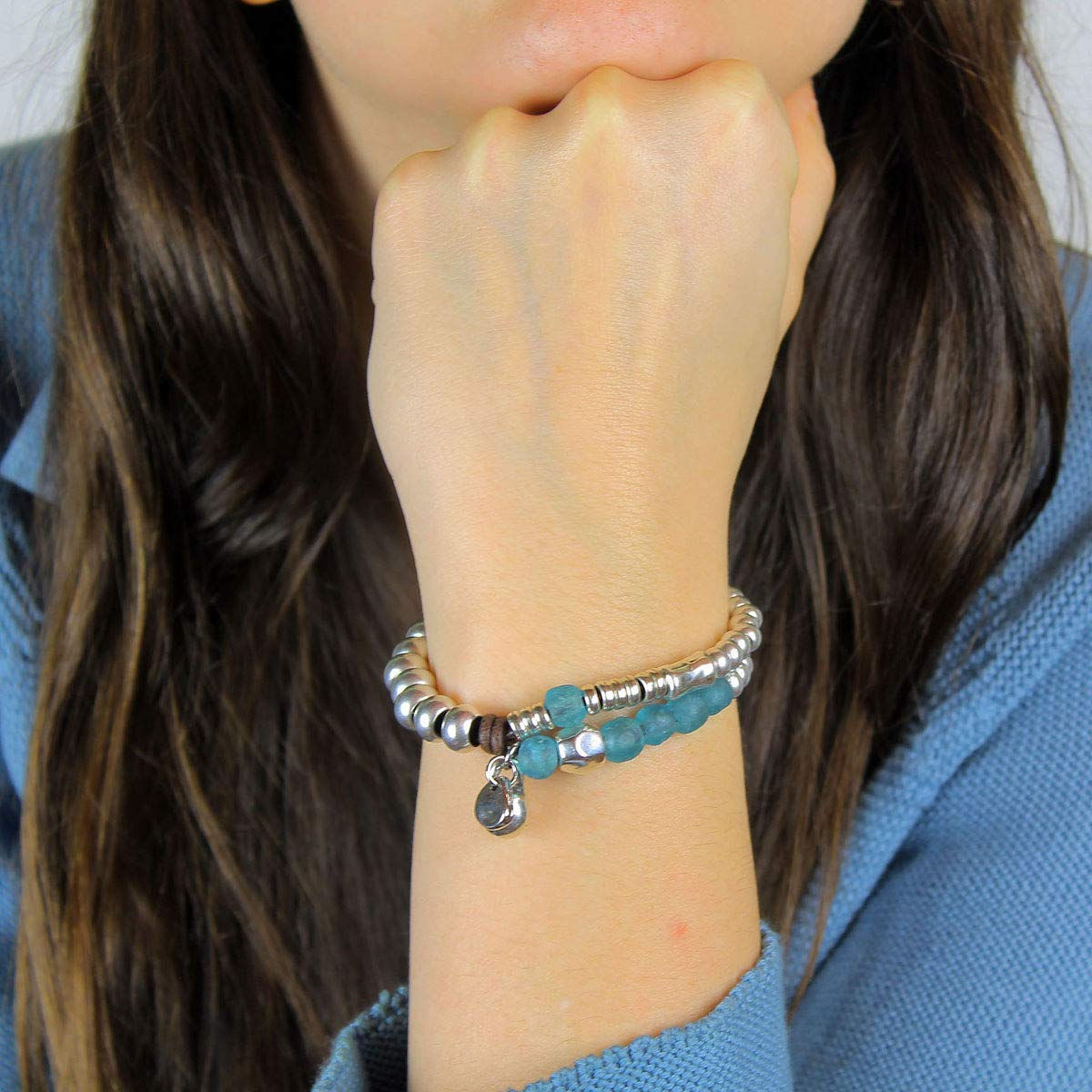 handmade by Intendenciajewels Womens leather bracelets African recycled glass bracelet ADJUSTABLE SIZE TO 6,3-7// 16-19 cm. leather and plated beads Boho jewelry