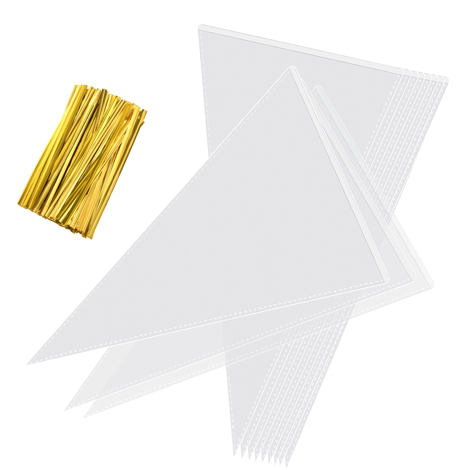 Whaline 100 Pieces Clear Cone Bags Transparent Sweet Treat Cello Bags with 100 Gold Twist Ties for Holiday Wedding and Party, 11.8 by 6.3 Inch