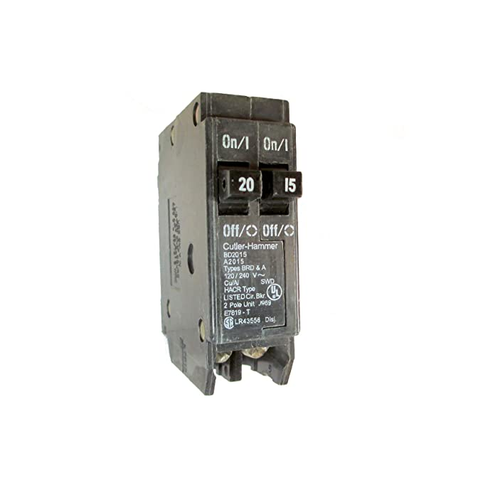 Eaton Cutler-Hammer BD2015 Type BR Duplex Twin 2 Pole 20A /15A Circuit Breaker Rejection Type